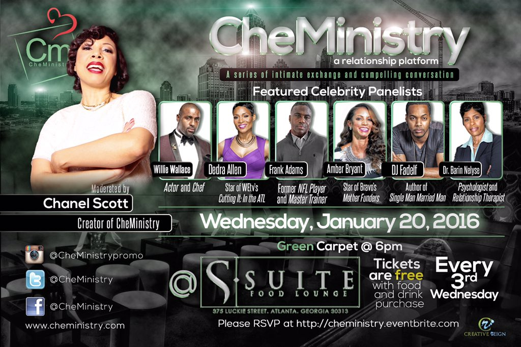 #Atlanta join me tomorrow evening, for @CheMinistry at @suiteloungeatl | #love #relationships #life and more! https://t.co/ZgddijNpbQ