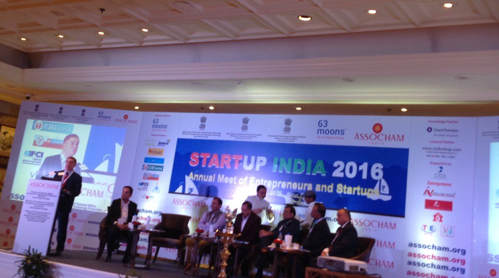 Honorable ambassador of Israel addressing the Startup India 2016 organised by #Assocham #StartupIndia https://t.co/nZzuGiQMuZ
