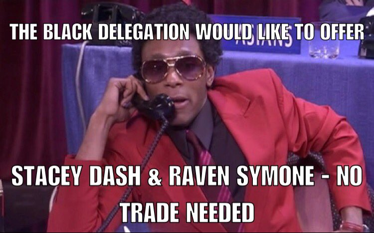 The racial draft offers up Stacey Dash & sweetens the deal. https://t.co/YPO4btcZBI