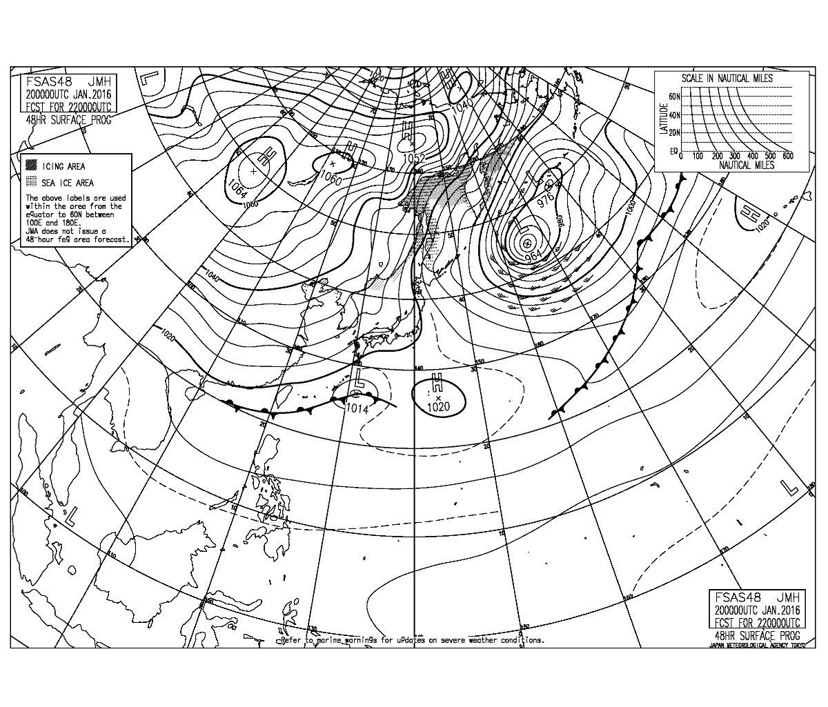 """しおん on Twitter: """"48時間後の予想天気図(FSAS48)。1064hPaの ..."""