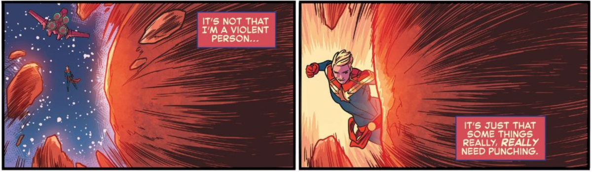Page 1 & all my concerns about new writers on #CaptainMarvel are gone. @breadandbutters & @MicheleFazekas get her. https://t.co/5ecjhYXurw