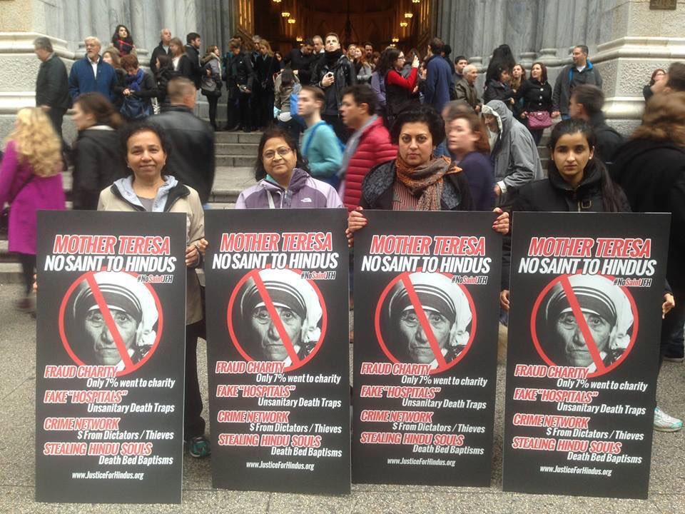 In front of the St. Patricks' Cathedral, in the heart of New York City. Exposing the fraud of #MotherTeresa https://t.co/zatt6KLSf0