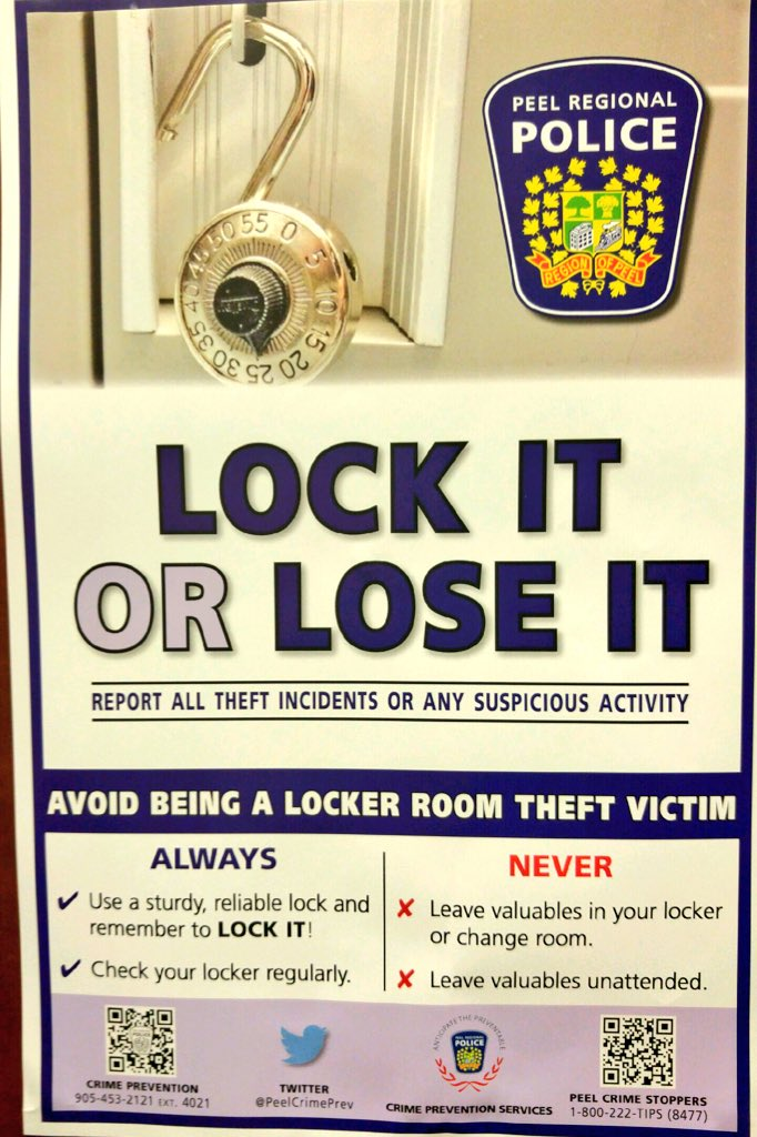 Peel Regional Police On Twitter Don T Be Locker Room Theft Victim Secure Your Valuables Not A Good Workout When You Come To Find Your Stuff Gone Https T Co No8cxdzwd0