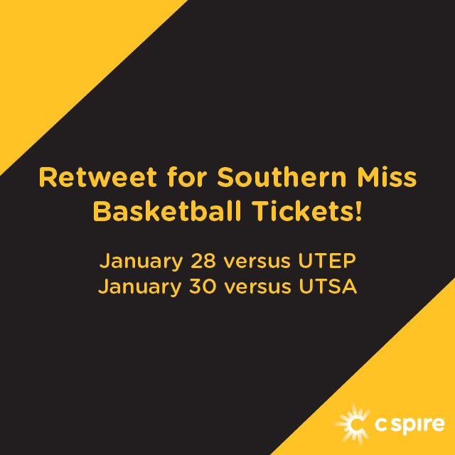 #RETWEET for a chance to win tickets to a @SouthernMissMBB game on 1/28 or 1/30. #SMTTT https://t.co/81Cwh3Ahgh