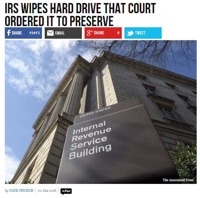 IRS Wipes Hard Drive that Court Ordered It to Preserve - Breitbart https://t.co/0v0vgBqBYE via @BreitbartNews #tcot https://t.co/MxTLMx390R