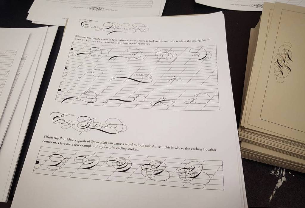 Getting together some student handouts for my Spencerian class this weekend at the Philadelphia @CarnivalOfPens! Co… https://t.co/1q8k5CMH9p