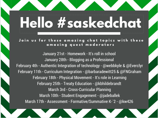 #saskedchat You gave us your input & we listened. Plus, we have arranged some amazing educators to guest moderate! https://t.co/ZEyqQbrdgq