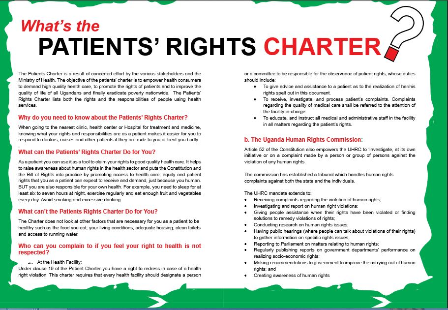 "CEHURD Uganda on Twitter: ""All people seeking health care in Uganda have rights.The Patients Charter highlights some of them #KnowYourRights ..."