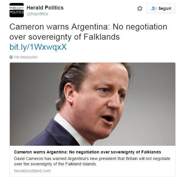 Malvinas en los medios nacionales e internacionales. CZQ00eXWAAArVL2