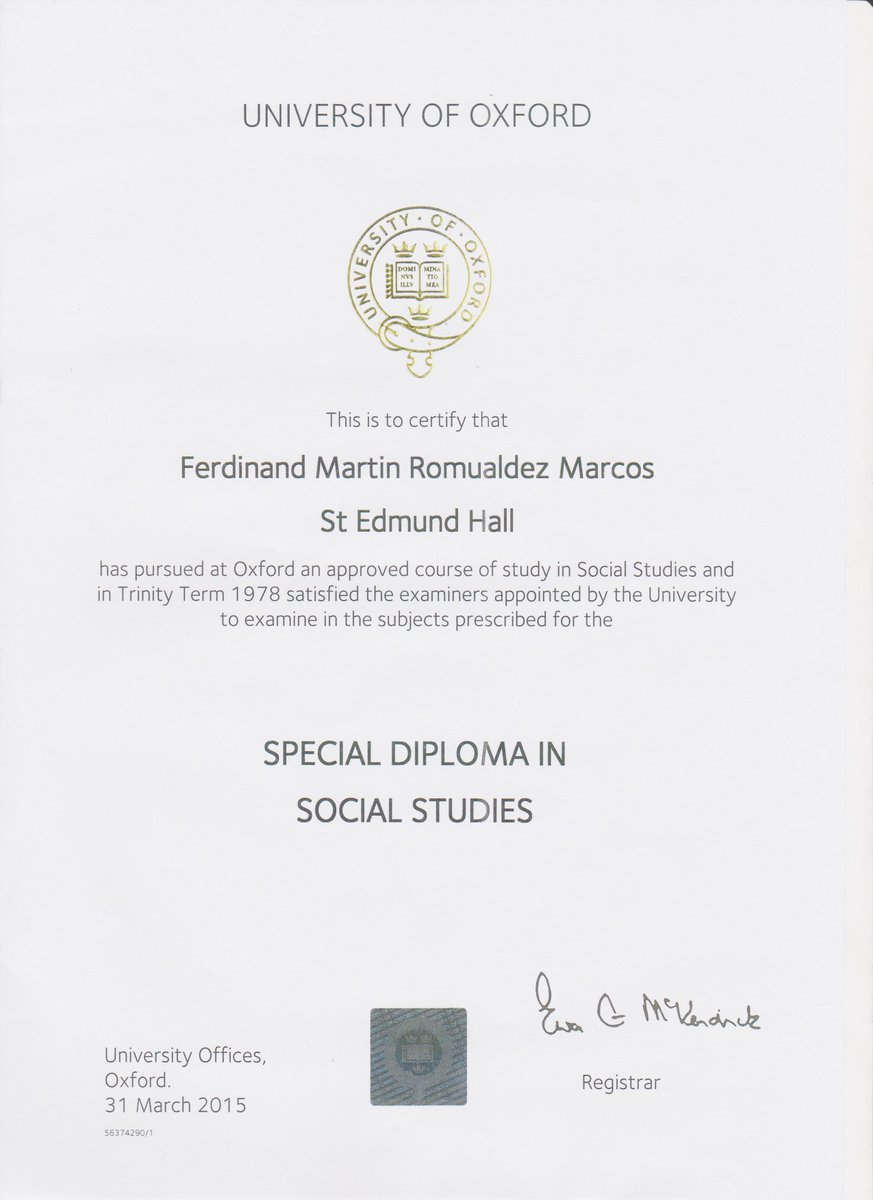 Marcos: special diploma from oxford is same as bachelor\'s degree ...