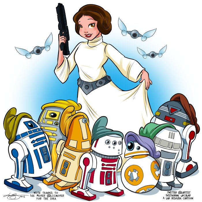 Cartoon: Princess Leia & the Seven Droids. With thanks to @LccMoyer for the idea :) https://t.co/piUYDE8plP