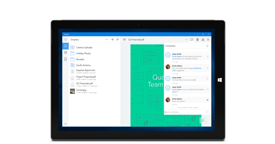 Dropbox just released a native Windows 10 app for tablets