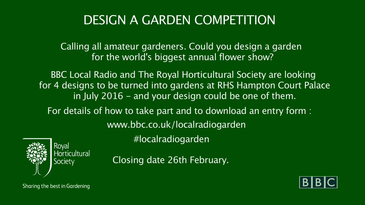 Want to design a garden for @TheRHS #HCPFS now's your chance @AnnMariePowell & I will help.A bit #localradiogarden https://t.co/4s0n0eknkP