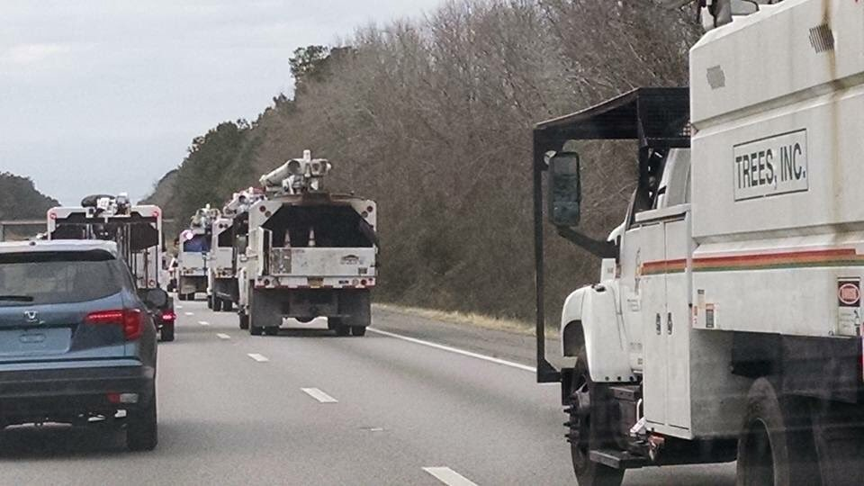 Photo from my BIL of all the trimmers and bucket trucks heading to Upstate SC and NC from CHS. @wxbrad https://t.co/0CYKKx07Ku