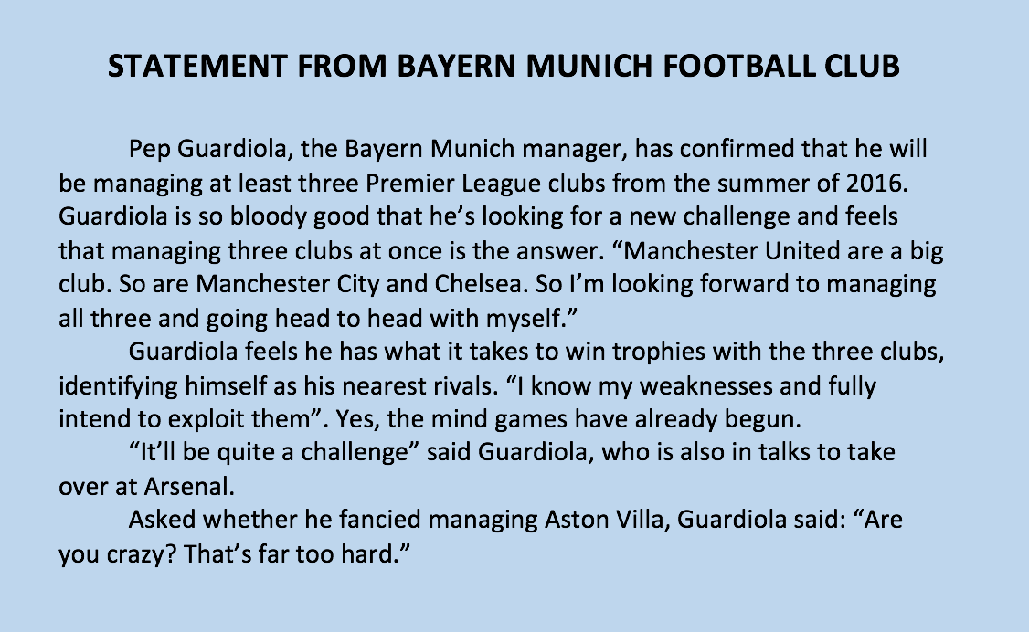 Pep Guardiola to take over 3 Premier League clubs in the summer. Full statement from Bayern Munich website. https://t.co/ummYC6yRhW