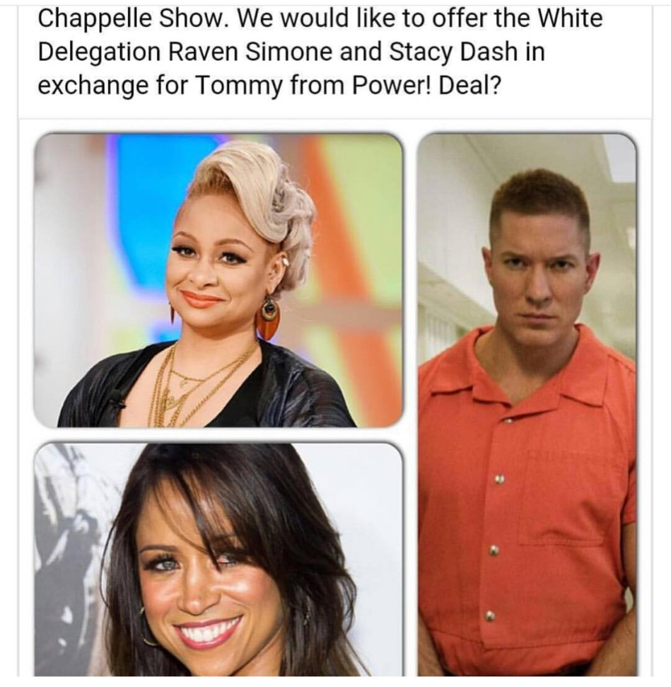 .#RacialDraft2016 Raven- Symone and Stacey Dash for Tommy from Power. https://t.co/oD2JLIJm7D