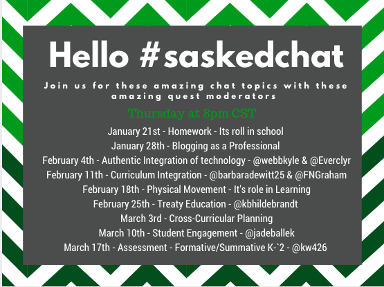 We have a great line-up of topics & guest moderators coming up on #saskedchat. Mark you calendars! https://t.co/ipm8XCPAWr