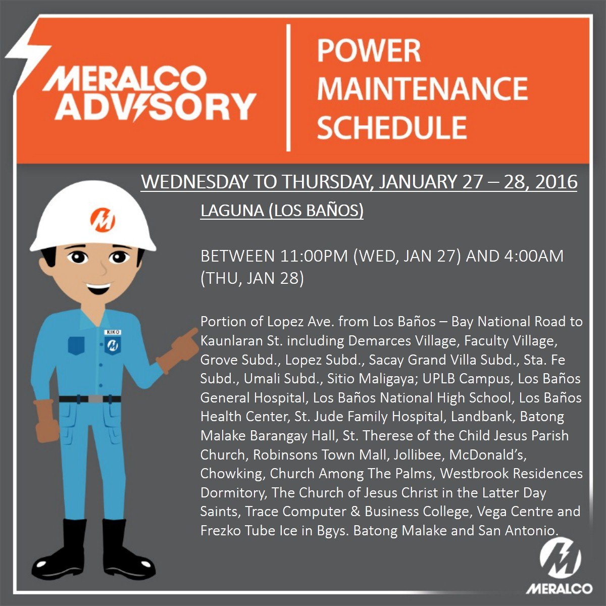 ADVISORY: May scheduled power interruptions sa ilang areas sa Laguna sa Jan 27-28. More: https://t.co/4jMvKoOVez https://t.co/671wgGUVVo
