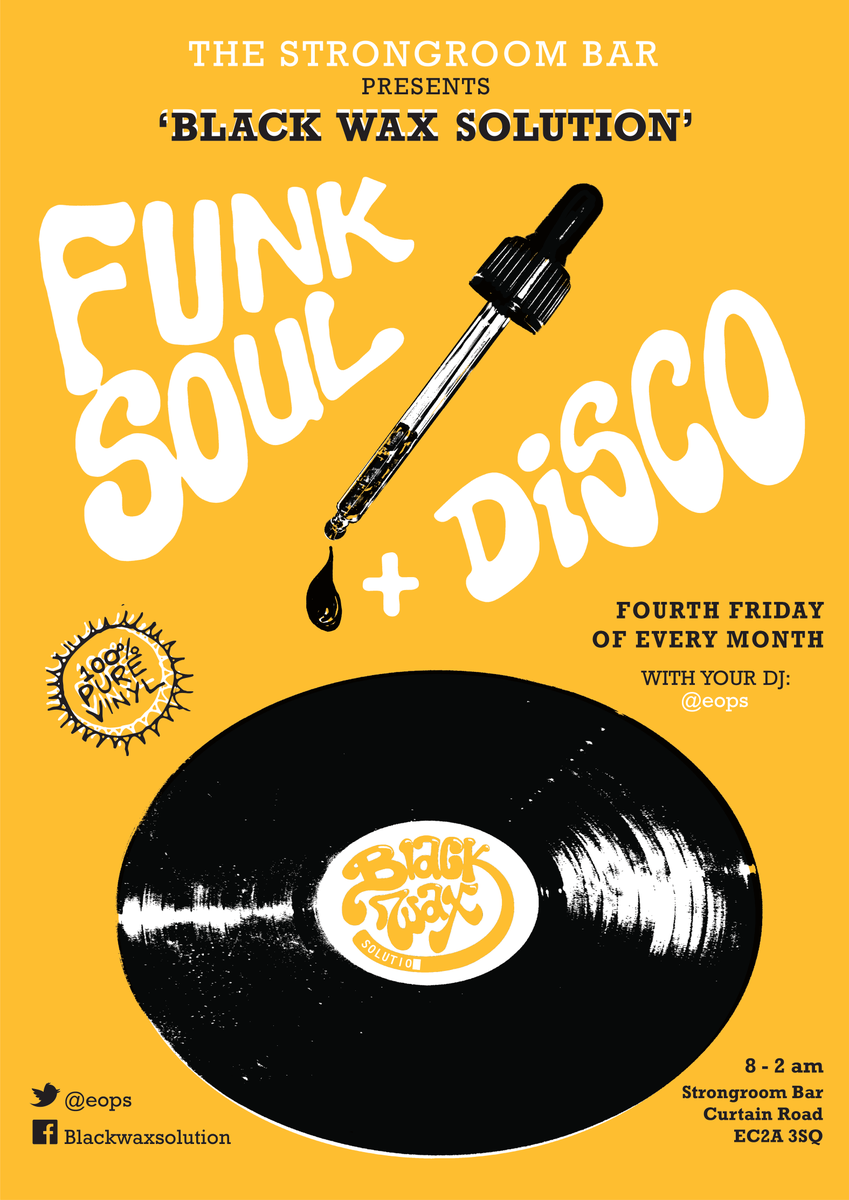 Tonight @StrongroomBar Shoreditch BLACK WAX SOLUTION #FUNK #SOUL #DISCO 8-2am Free entry. Get down to get down! https://t.co/8hnJz17z6l
