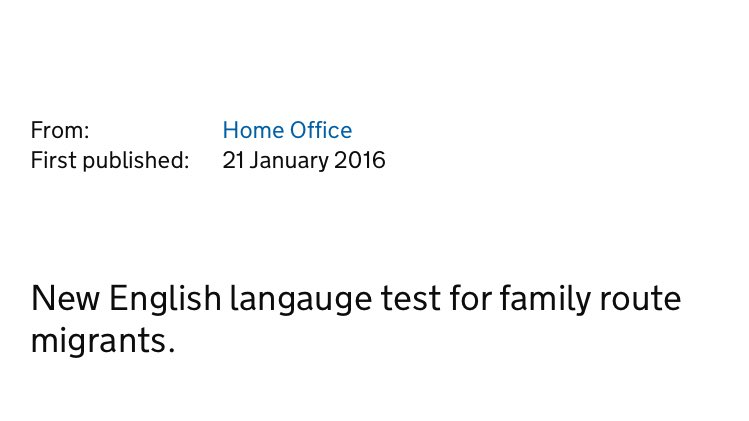 Whoops. Home Office announces a new English language test for migrants.... and spells language wrong https://t.co/No4HZQfffi