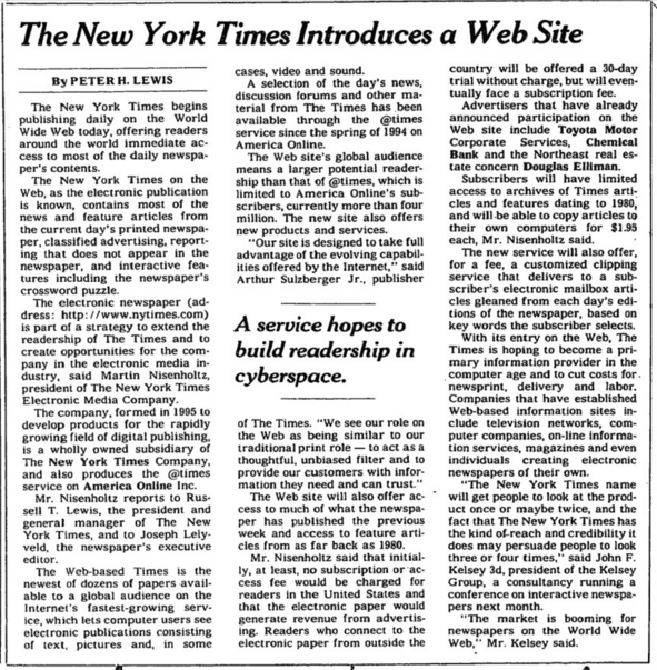 Thumbnail for The New York Times Celebrates the 20th Anniversary of NYTimes.com with a Look Toward the Future
