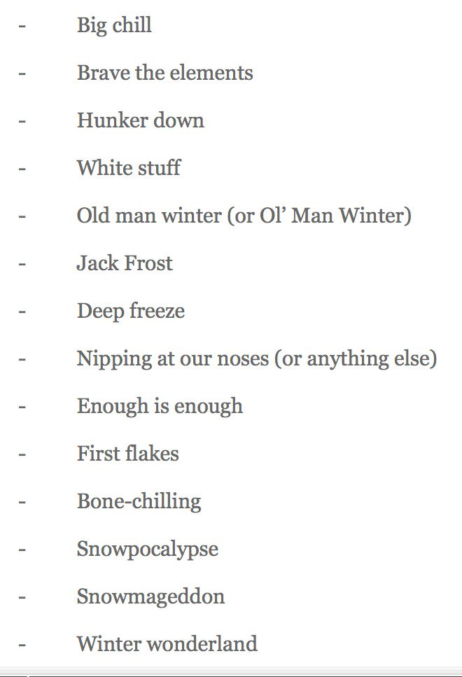 If you're curious what phrases, terms and clichés NPR advised we don't use in our blizzard coverage, here they are: https://t.co/FW5ZoE4YbZ