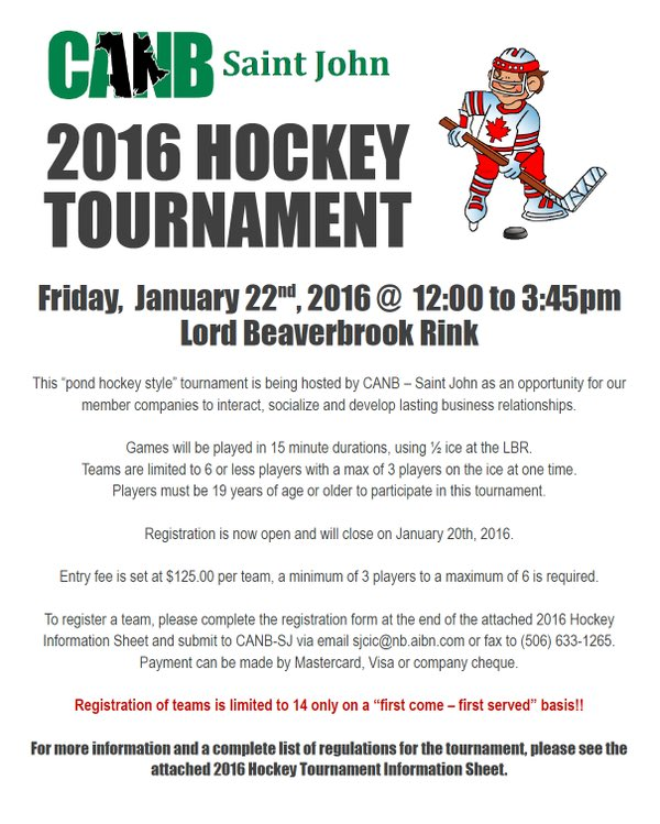 Lord Beaverbrook Rink On Twitter Welcome Canbsj Hockey Tournament