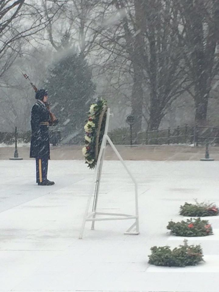 Old Guard Soldiers stand watch at the Tomb of the Unknowns as Winter Storm Jonas enters the Washington DC area. https://t.co/zRnYJzfi7v