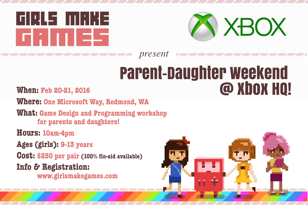 Big Day! We're so excited to announce our upcoming Parent-Daughter workshop at @Xbox HQ! This is going to be AMAZING