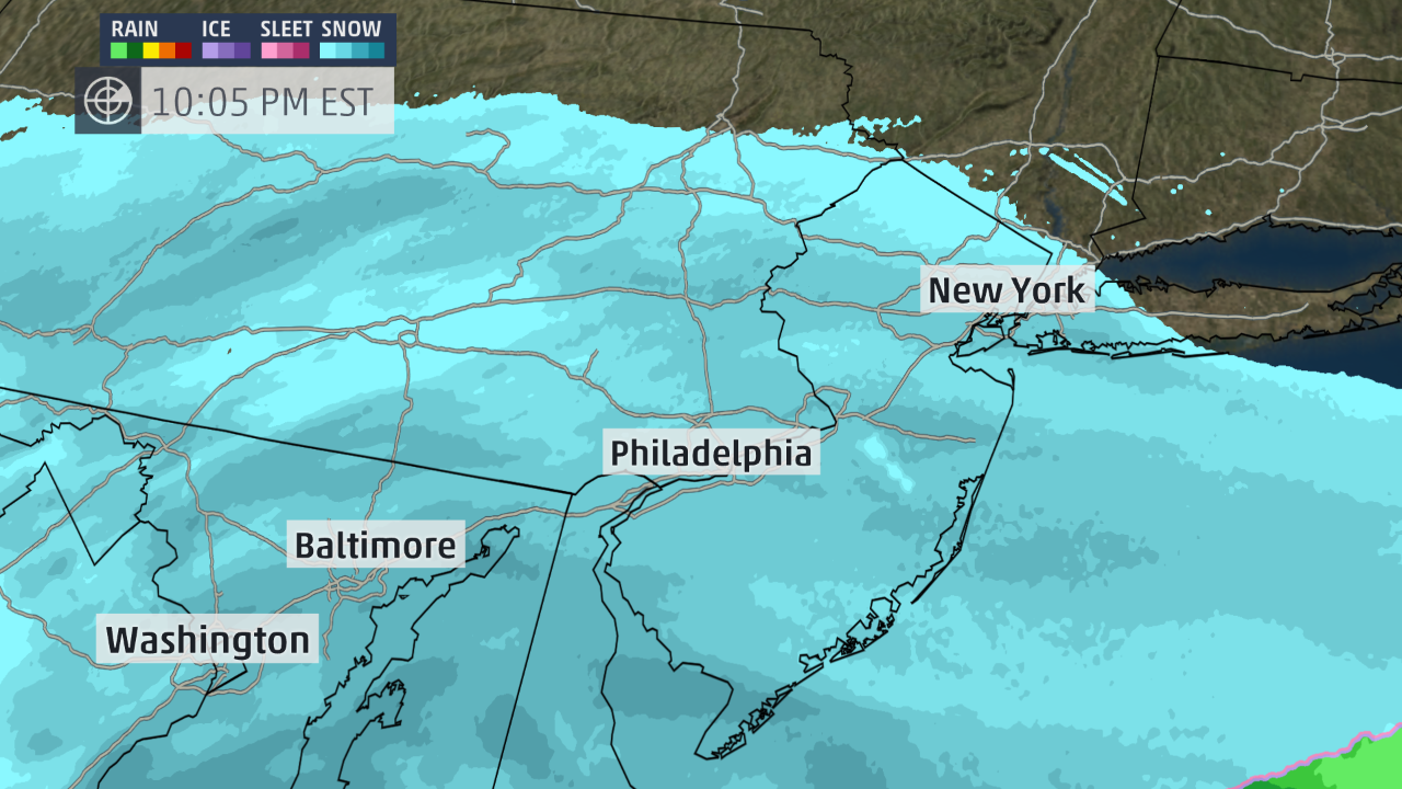 Map Snow has reached New York City conditions expected to