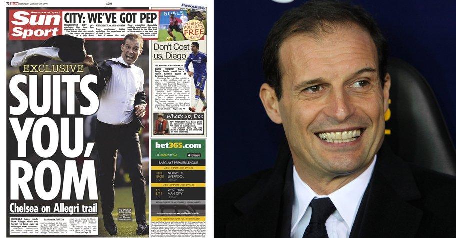 Calciomercato The Sun: Allegri al Chelsea, e Conte? Torna bianconero?