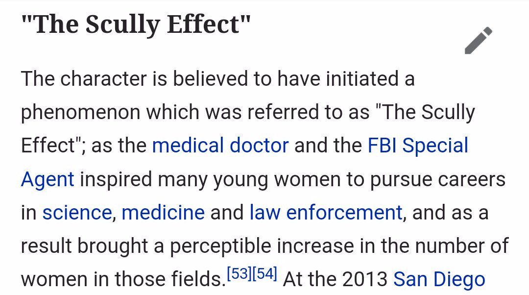 The Scully Effect - a perceptible increase of women entering the fields of science, medicine, and law enforcement https://t.co/LMYiMpjh8l