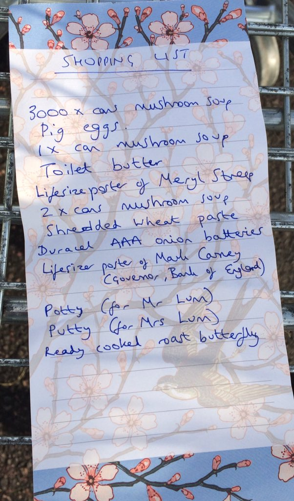 My latest shopping list left in a Tesco trolley for the next happy shopper... https://t.co/xXInA8Y90V