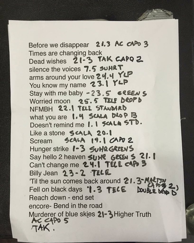 Chris Cornell's set list from the secret show at The Roxy. Some first time live debuts! https://t.co/Pn68Eg5Ugv