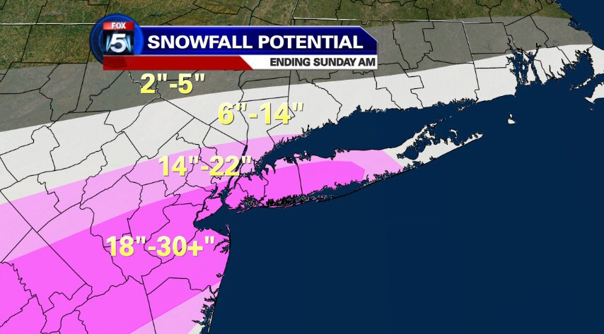 Updated snow totals and snow potentials. Blizzard warning thru Sunday 7AM #BlizzardNyc #snowonfox #fox5ny https://t.co/ldiGZHpCPY
