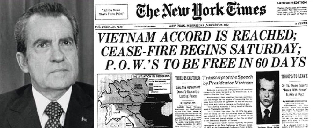 Image result for nixon announced the end of the vietnam war