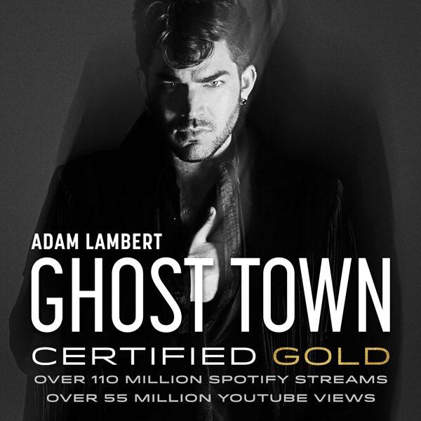 Congratulations to @AdamLambert! #GhostTown has been certified GOLD by the @RIAA. https://t.co/YKxnkjfMhL