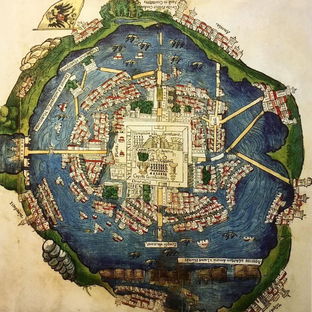 map dragons on map of the aztec capital tenochtitlà n