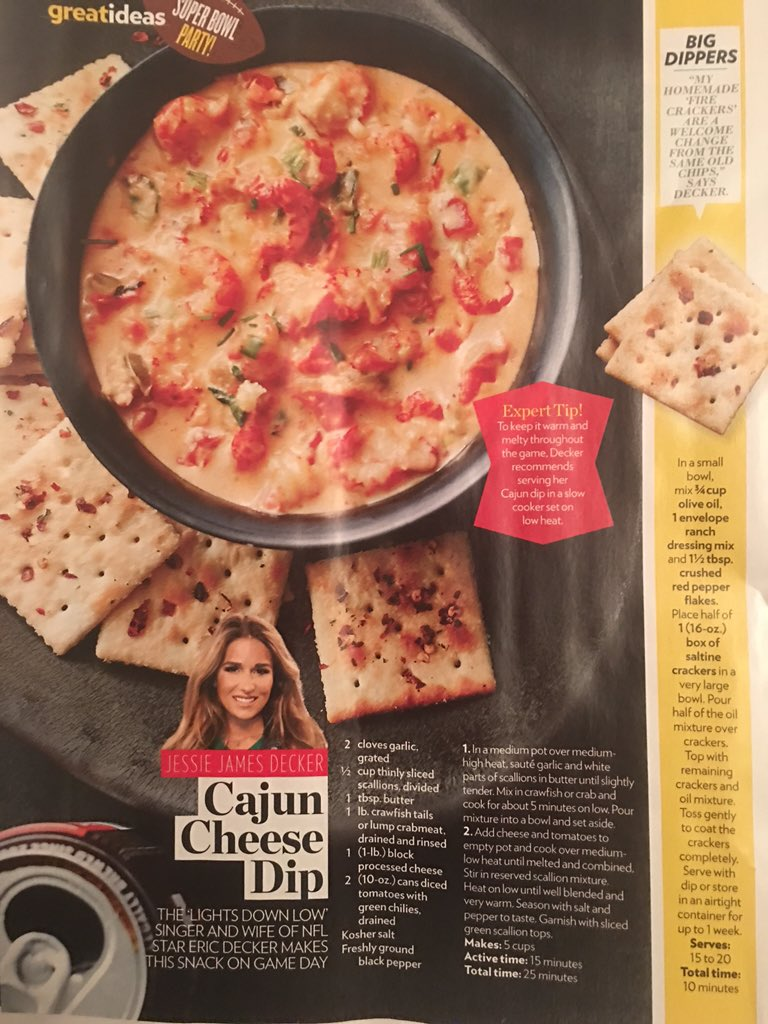 #CountryFlavor Check out this recipe for Cajun Cheese Dip by @JessieJDecker in this week's @people. https://t.co/42KOQ2t930
