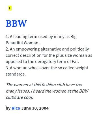 Urban dictionary bbw