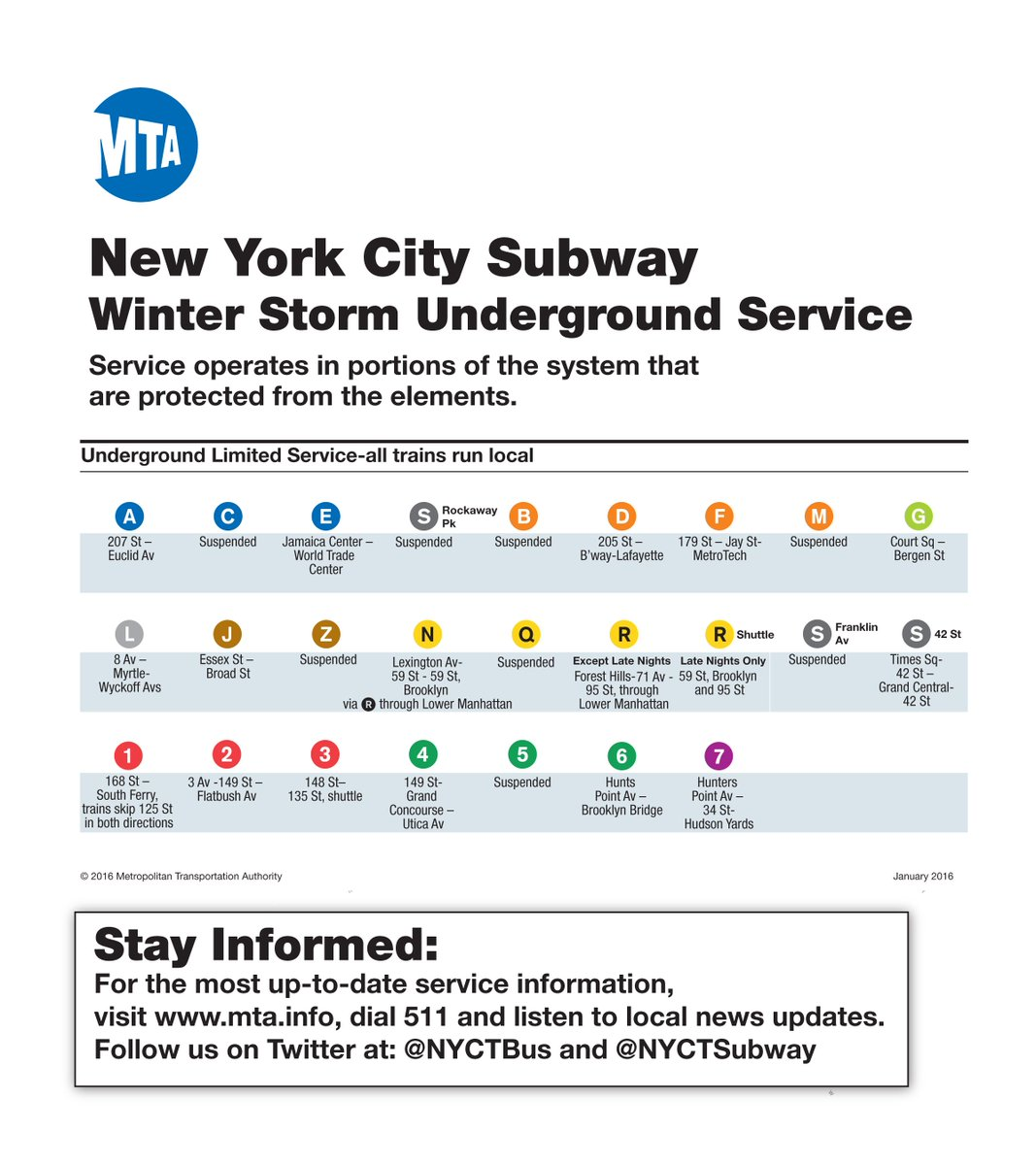 Winter Storm Service Guide gives a snapshot of underground subway service and terminals. https://t.co/CLker0qcWi