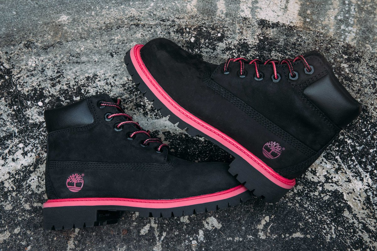black and pink timberland boots