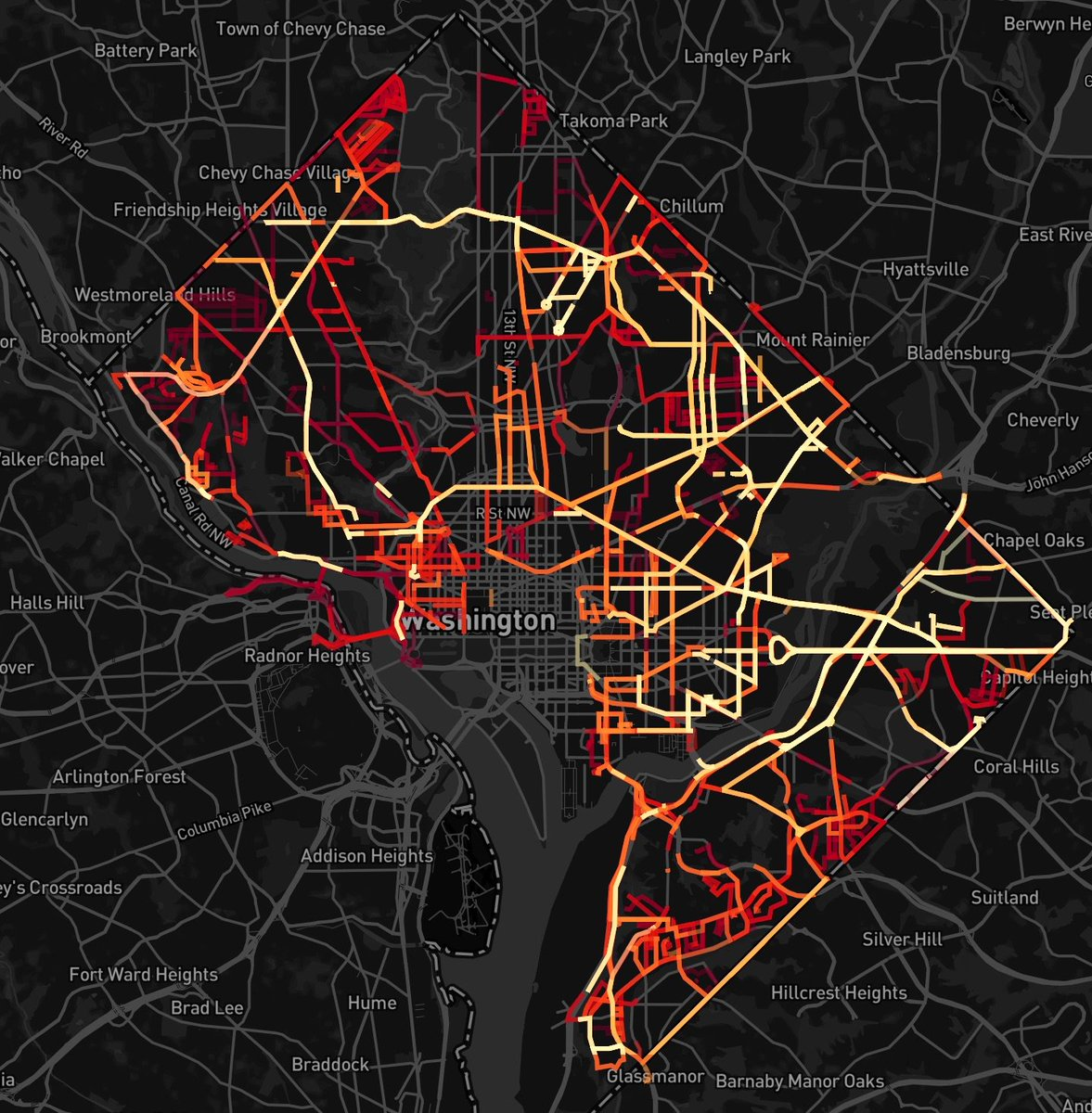 DC snowplow map -- last 24 hrs, auto-updating. brighter = more recent https://t.co/7Jc96xBuuy https://t.co/98vWGjfnZX