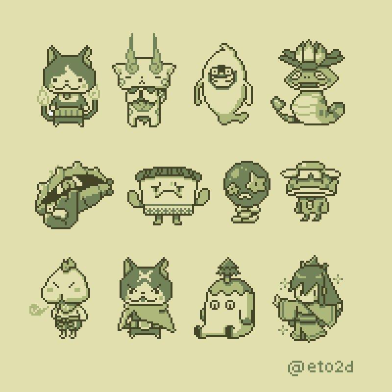 Eto On Twitter Yokai Watch Game Boy Style Pixelart