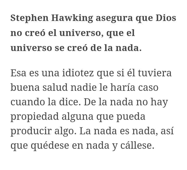 Un teólogo y astrofísico en El Español hateando fuerte a Hawking. https://t.co/NvDrqXQTDL
