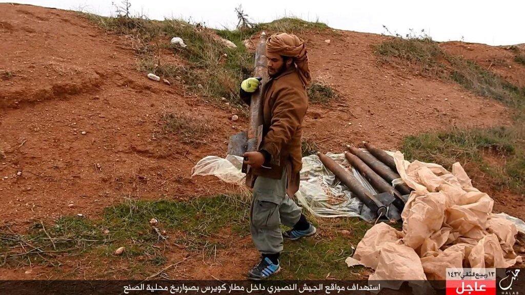 #Syria Da'ish targeting SAA inside Kweirs AFB with two ...