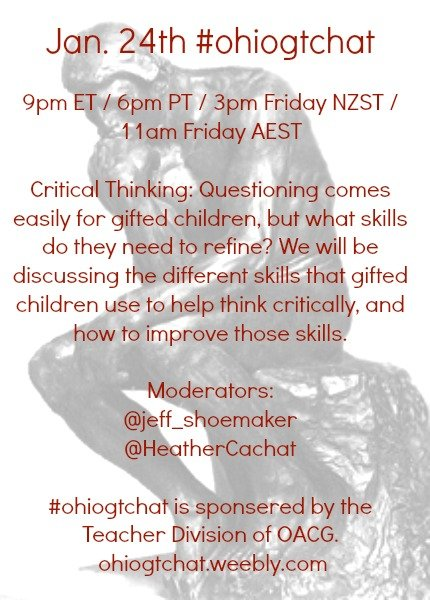 Thumbnail for Jan 24 #ohiogtchat: Critical Thinking