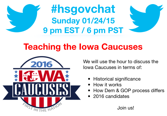 Thumbnail for #hsgovchat (01/24/16): Teaching the Iowa Caucuses