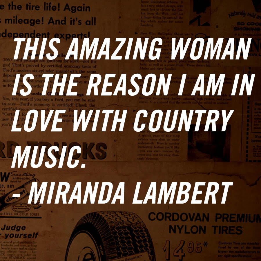 .@mirandalambert on Loretta. RT if Loretta is the reason why you love Country Music! #Loretta360 https://t.co/3mz1Rq8h9K