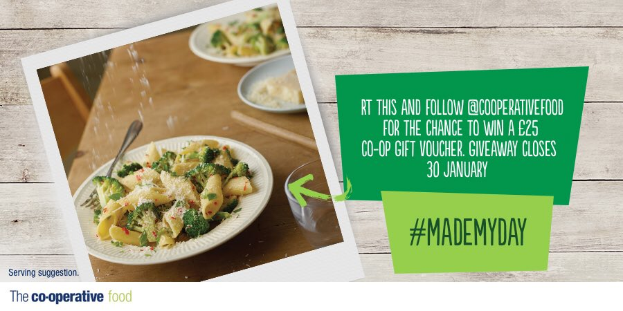 Need £25 4 dinner? RT/follow @CooperativeFood 2 win! Visit https://t.co/uVWscIqy79 4 meal ideas and T&Cs #mademyday https://t.co/rgVorV0DfC